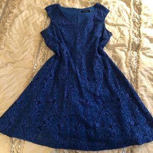 Bright Blue Ellen Tracy Lace A-Line Dress
